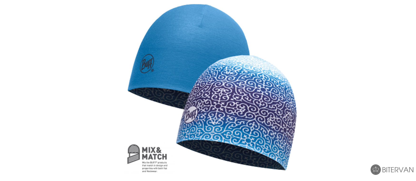 COOLMAX REVERSIBLE HAT BUFF® DHARMA BLUE - FRENCH