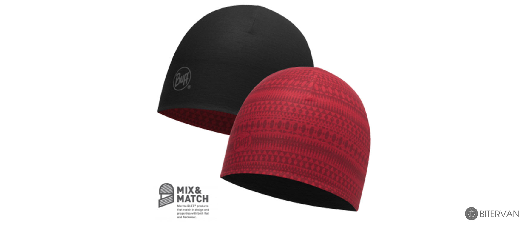 COOLMAX REVERSIBLE HAT BUFF® PORTUS RED - BLACK
