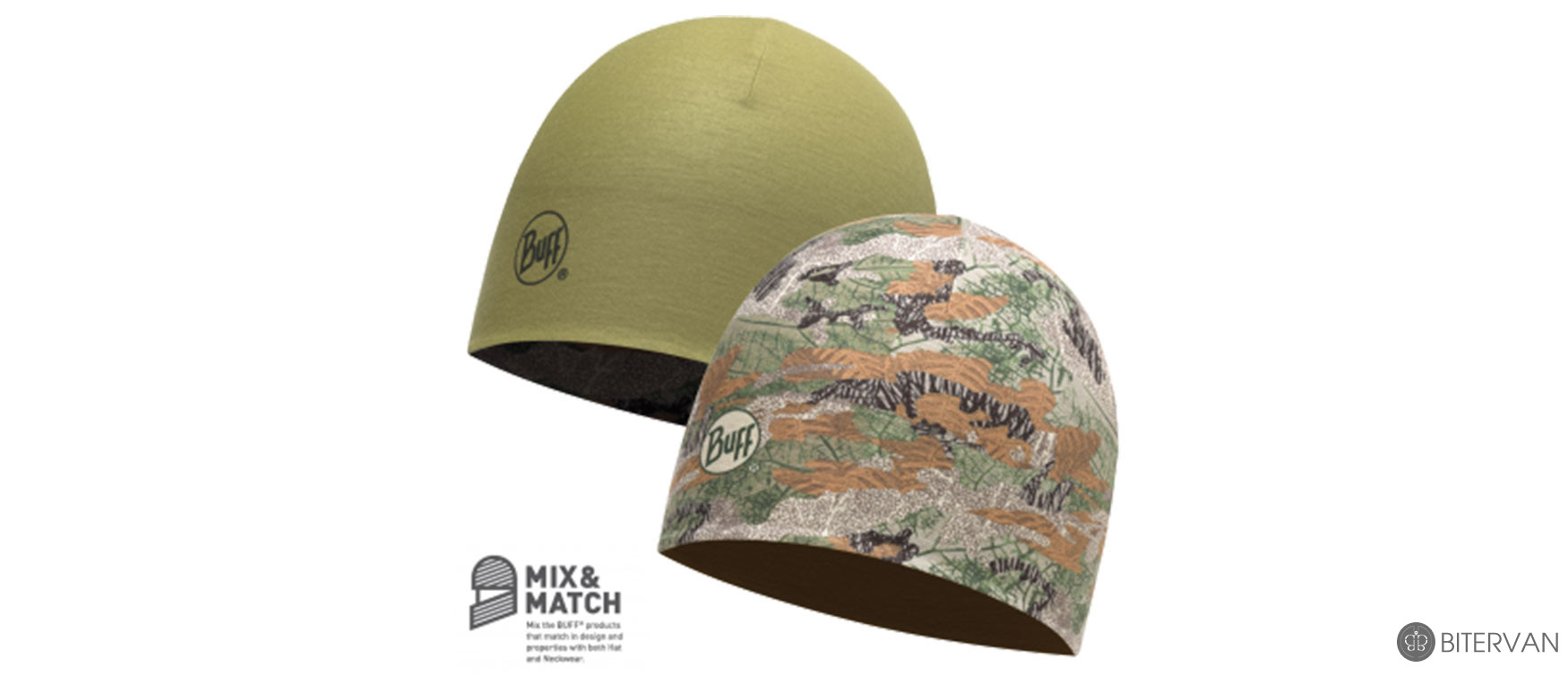 COOLMAX REVERSIBLE HAT BUFF® SAUVAGE BEECH - OLIVE